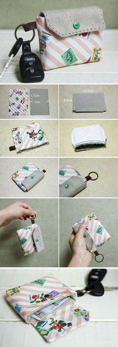 Card Wallet Key Chain Tutorial. DIY step-by-step in Pictures. http://www.handmadiya.com/2015/11/card-holder-key-chain-tutorial.html