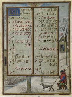 January 2 - Hennessy Book of Hours - miniaturist: Simon Benning - Flanders, 1530-1540 - Bruxelles, Bibliothèque royale Albert Ier, ms. II 158