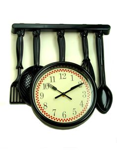 Add some interest to your kitchen wall with this adorable wall clock done in black. Featured are kitchen utensils hanging from a rack with the clock Fat Chef Kitchen Decor, Kitchen Decor Sets, Kitchen Wall Clocks, Kitchen Utensils, Interior Design Kitchen, Modern, Chefs, Decor Ideas, Home Decor