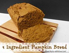 This is a super easy pumpkin bread recipe that only needs 3 ingredients. There are no eggs for those who are limiting their intake of eggs.