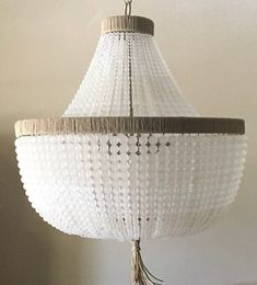 Empire Style Chandelier- Clear Frosted Glass Beads & Jute Wrap- Made to Order
