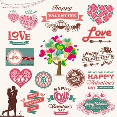 Exquisito San Valentín vector de material de etiqueta