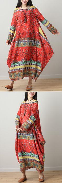 O-NEWE Loose Printed Long Sleeves Dress For Women