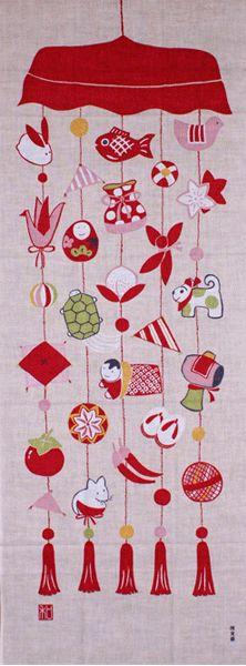 Japanese washcloth, Tenugui 濱文様絵てぬぐい「つるしびな」【05P13oct13_b】