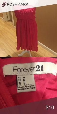 🌞Summer dress Strapless dress slightly shorter in front beautiful punch color Forever 21 Dresses
