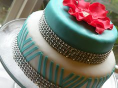 Turquoise Chevron Cake with Pink Fondant flower