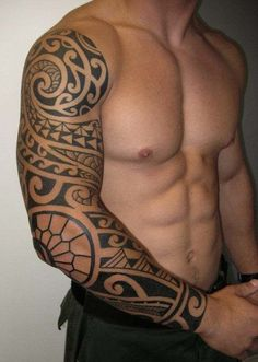 Tribal sleeve tattoo for men - The koru, fish hooks and the spiral lines are obvious features distinguishing the Maori tattoo from others.