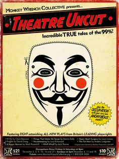 """Theatre Uncut US PREMIERE directed by Dave Barton Monkey Wrench Collective Postcard created by """"Greg"""" Adkins"""