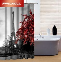 180x180cm Classic Eiffel Tower 3D Waterproof Shower Curtain Bathroom Products Creative Polyester Bath Curtain