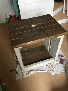 Stained and painted grey bathroom vanity unit