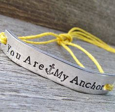Friendship Bracelet ONE Hand Stamped Couples Jewelry Name Tie On Hemp Cord Personalized Jewelry You Are My Anchor