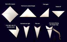 Schneeflocken aus Papier - alle Schritten, die nötig sind, eine Schneeflocke zu falten