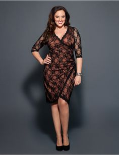 Gigi Lace Dress | Lane Bryant -- Wow. The lace over flesh-colored lining gives a very sexy illusions. Great cut too.