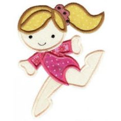 ZDBJJ464-1 Cute Gymnasts Applique-Single