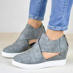 8c3bacb9937 Criss-cross Cut-out Wedge Sneakers Shoes with Zipper #Sneakers Plattform  Sneakers,