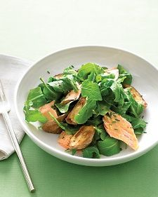 Arugula with Roasted Salmon and New Potatoes.  Salmon fillet, new potatoes, baby arugula, chives, dijon mustard, olive oil, and white-wine vinegar.