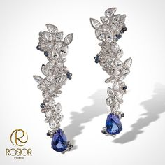 19,2k white gold earrings with E-VVS brilliant and pear cut Diamonds, Sapphires and 2 pear cut Tanzanites weighting 6,97cts. Total weight: 17,11cts. An unique piece, Manuel Rosas creation, manufacture in Portugal by rosior artisans.