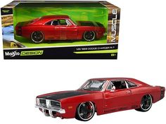 "1969 Dodge Charger R/T Red Metallic with Black Hood and Black Stripes ""Classic Muscle"" 1/25 Diecast Model Car by Maisto 1969 Dodge Charger, Ford Torino, Black Hood, Roll Cage, Rubber Tires, Diecast Model Cars, Car Brands, Black Stripes, Metallic"