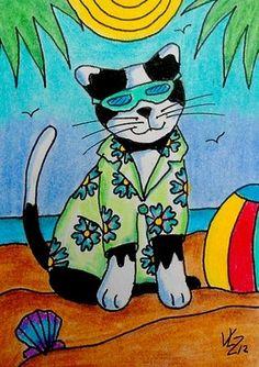 BEACH KITTY ACEO ON EBAY