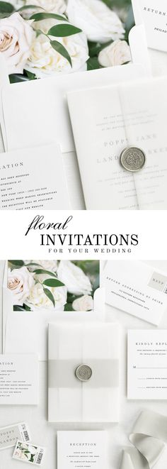 The Poppy wedding invitation suite is paired with Clara florals.  Clara features sand dollar roses, white garden roses, and Italian ruscus.