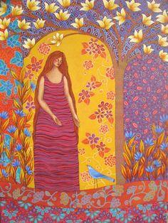 patternprints journal: VIVID COLORS AND PATTERNS IN PAINTING BY CHILEAN ARTIST SONIA KOCH Rock Tile, Letter Patterns, Kochi, Pattern Art, Figurative Art, Painting & Drawing, Folk Art, Vibrant Colors, Illustration Art