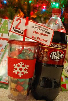 What a cute Teacher Christmas gift...what you need to survive the week before christmas break...chocolate and Dr. Pepper.