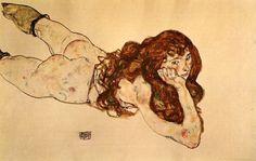 エゴンシーレ 腹這いの裸婦
