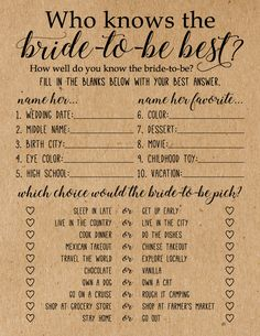 These rustic Who Knows the Bride-to-be Best Game Cards are a fun bridal shower game to add to your next bridal shower or wedding shower. Play this game with your family and friends at your bridal shower or wedding shower by having your guests answer each question to see how well they know the bride-to-be.