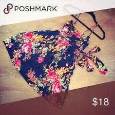 Xhilaration Black Floral Dress One of the cutest! Adjustable straps. Excellent condition! On sale tomorrow 8/24! Xhilaration Dresses Mini