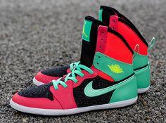Air Jordan 1 Skinny High Atomic Red/Volt-Black-Green Glow 602656-633