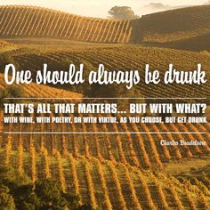 """One should always be drunk. That's all that matters...But with what? With wine, with poetry, or with virtue, as you chose. But get drunk."" - Charles Baudelaire.   30 Inspiring Quotes to Live By."