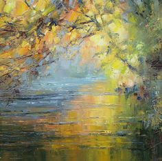 paintings of trees | Rex PRESTON - Beech Trees by the River