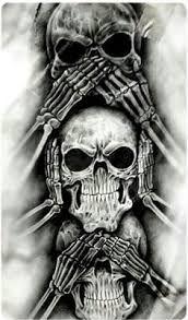 See no evil, Hear no evil, Speak no evil skull tattoo design Evil Skull Tattoo, Evil Tattoos, Demon Tattoo, Skull Tattoo Design, Skull Design, Skull Tattoos, Body Art Tattoos, Sleeve Tattoos, Tattoo Designs