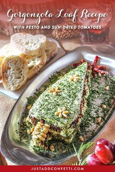 Planning a tree trimming party this holiday season? I've got you covered with our Just Add Confetti Deck the Halls Tree Trimming Holiday Party. This celebration is full of great Christmas party ideas and food, a delicious Pesto and Sun-Dried Tomato Gorgonzola Loaf recipe, along with a few other of my family's favorite recipes, and a bunch of party printables! #deckthehalls #treetrimming #christmas #christmasparty #JustAddConfetti #freeprintables #gorgonzolaloaf #recipe #appetizer