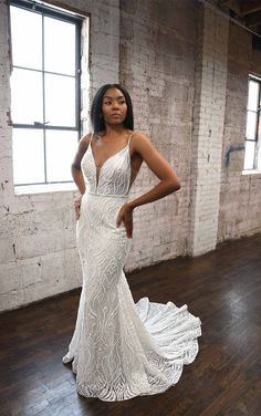 Graphic Lace Fit-and-Flare Wedding Dress with Sequins and Beading - Martina Liana Wedding Dresses Spaghetti Strap Wedding Dress, Wedding Dresses With Straps, Fit And Flare Wedding Dress, Designer Wedding Dresses, V Neck Wedding Dress, Belted Wedding Dresses, Fitted Wedding Gown, Bohemian Style Wedding Dresses, Fit N Flare