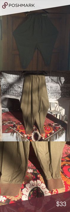 Olive Green Cotton Martial Arts Pants/drawstring Olive Green Martial Arts pants. With wide hips for Tai Chi  Drawstring waist. Cotton ribbed cuffs at ankles. One size. Too short for my long legs. So sad💦NWOT Those Days Pants