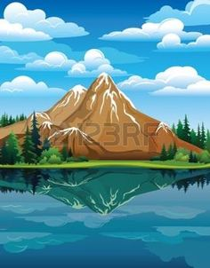 Vector landscape with snow mountains, green trees and blue lake on a cloudy sky background photo