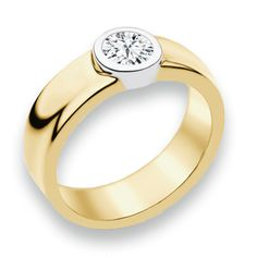 Naledi Aaliyah Engagement Ring - a center diamond is bezel set in a yellow gold band on this 14kt gold ring. Available at Exclusively Diamonds.