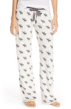 PJ Salvage Thermal Knit Lounge Pants- ivory moose, large