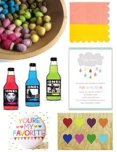 Any season gender neutral (though it certainly leans feminine) baby shower ideas - a rainbow multi-color, lovefest party