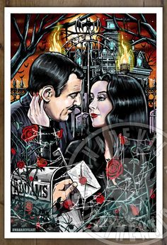 Morticia and Gomez Addams (Classic) Carolyn Jones and John Astin, print illustration created by BwanaDevilArt.All our illustrations are printed in Premium heavy weight printing paper. Each print . Addams Family Members, The Addams Family 1964, Addams Family Tv Show, Adams Family, Morticia And Gomez Addams, Disney Evil Queen, Carolyn Jones, The Munsters, Film Inspiration
