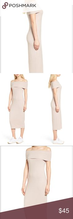 """•Trouve• Off The Shoulder Ribbed Midi Dress Dress it up with heels or flats and dress it down with sneakers or sandals  - 43 1/2"""" center front length  - Slips on over head - Off-the-shoulder neck - Can also be worn as a cowl neck  - Color is navy blue  - 95% rayon, 5% spandex Trouve Dresses Midi"""