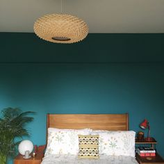 An inspirational image from Farrow and Ball. Bedroom feature wall in Vardo with midcentury teak bedframe and bedside tables. Room Colors, Farrow And Ball Bedroom, Oak Bedroom, Feature Wall Bedroom, Bedroom Colors, Room Color Schemes, Teal Bedroom Walls, Bedroom Wall Colors, Room Paint
