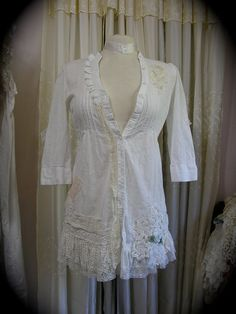 White Cottage Blouse shabby and chic refashioned by Dede of TatteredDelicates on Etsy