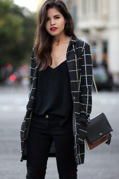 Sheinside checked coat, CAMI NYC camisole, Zara skinny jeans, Coach 'Samie' heels, Purificación...
