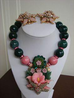 stanley hagler vintage jewelry | Stanley Hagler Huge Pink Orchid Pendant Necklace & Earrings