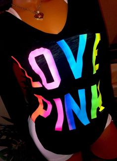 Victoria's Secret LOVE PINK Black Long Sleeve V neck T shirt RAINBOW LOGO RARE M #VictoriasSecret #KnitTop #Casual