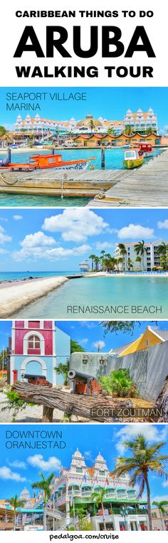 For things to do in Aruba during your Caribbean cruise without excursions, add these to your checklist for the walking tour Aruba cruise port! You'll pass by downtown Oranjestad for shopping and food. Marina with boats, beach hotel, sand bar from cruise ship. Budget-friendly activities when you're not taking a tour. Cruise tips for your southern Caribbean cruise to Aruba that might include Grand Turk, Curacao, Bonaire, Dominican Republic, or Barbados too.