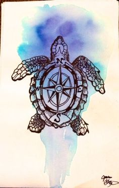 Internal Compass- Aquatic Illustration Print by Neptunessketchbook on Etsy