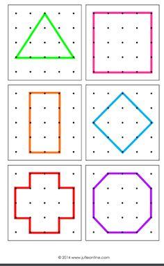 Escuela infantil castillo de Blanca: PLANTILLAS GEOPLANO Adhd Activities, Fraction Activities, Drawing Activities, Toddler Learning Activities, Kids Learning, Montessori Math, Math Literacy, Preschool Activities, Alphabet Activities